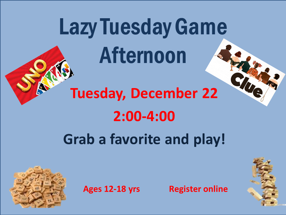 Join us as we break out Jenga, bring out the Uno deck, master Clue, and test our vocab with Scrabble, and lots of other board and card games at our Game Afternoon! Bonus: Hone your chess skills using our GIANT CHESS BOARD!!