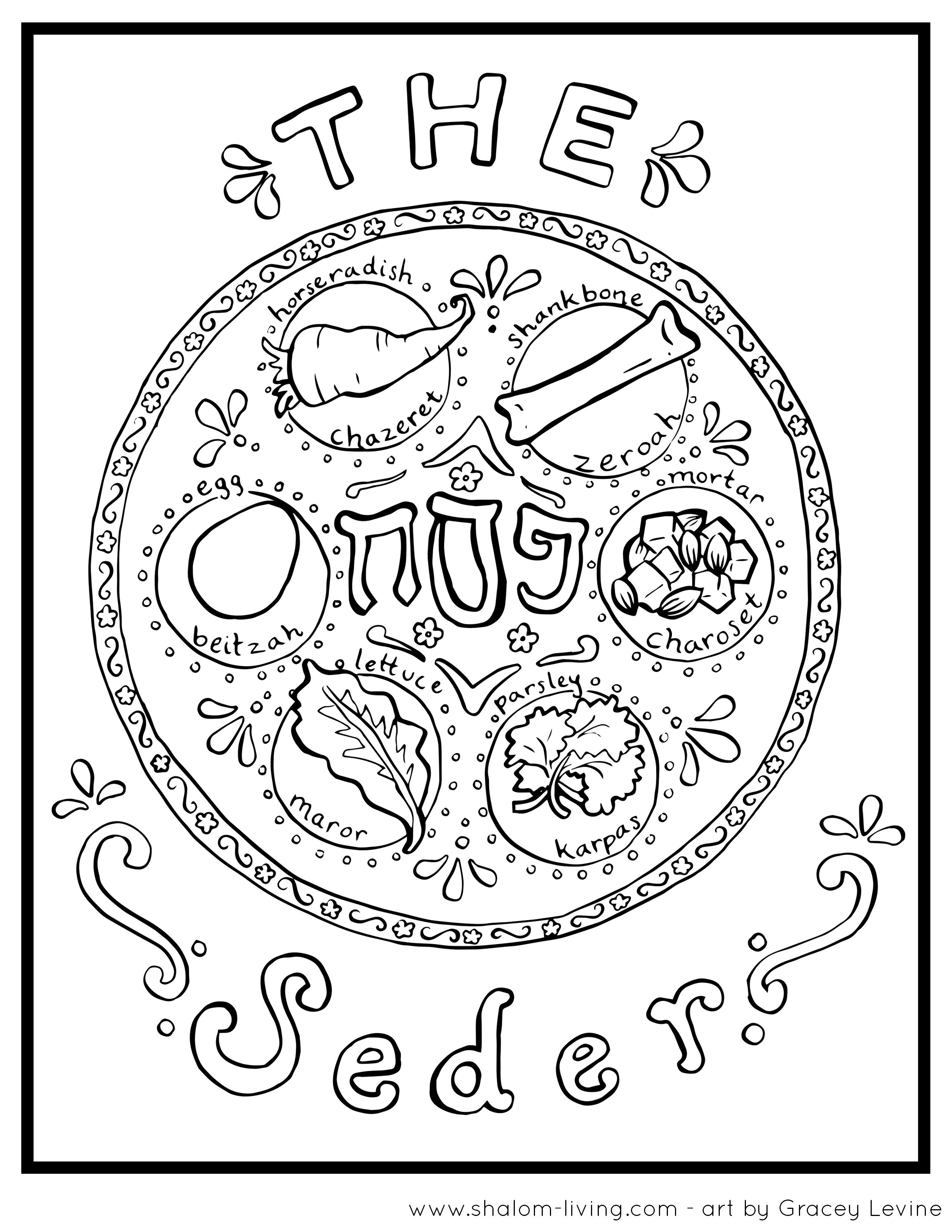 Passover Seder Plate Coloring Page Passover Coloring Page
