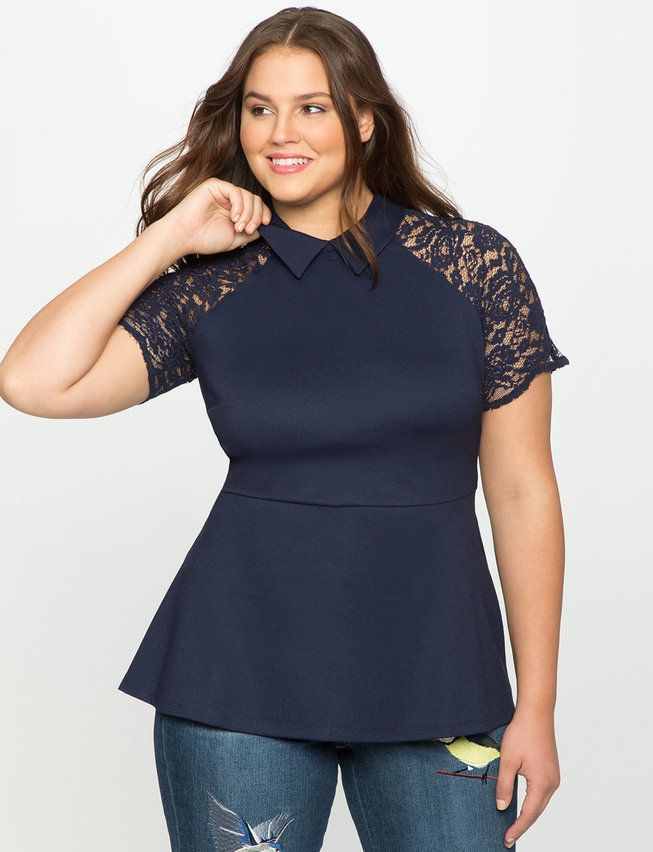 13acc4ed8452d Plus Size Lace Sleeve Collared Peplum Top