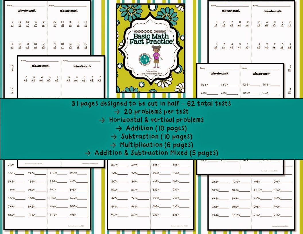 Practicing Basic Math Facts | Math test, Math facts and Multiplication