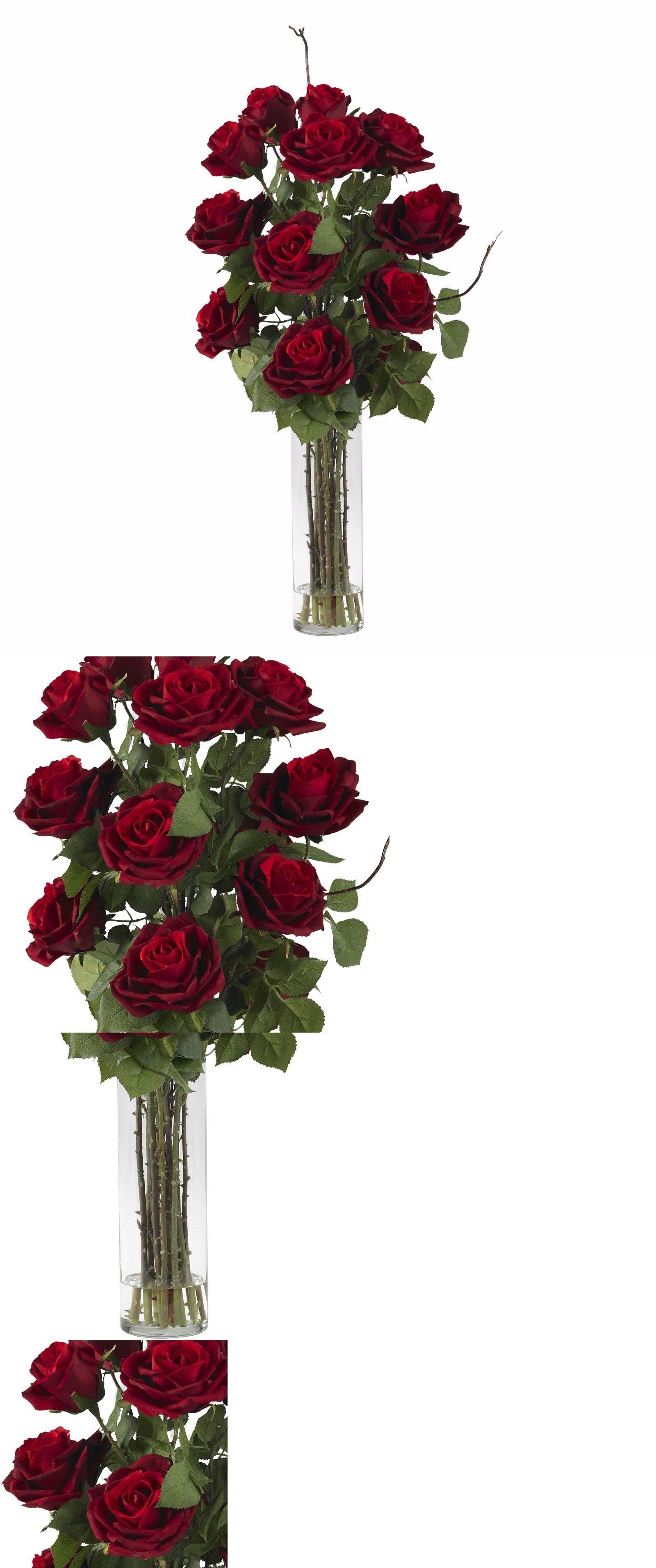 Silk Flowers 16494 Roses W Cylinder Vase Silk Flower Arrangement