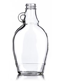 8 oz Clear Glass Syrup Flask Bottle 28-400 : Sauce/Syrup Bottles