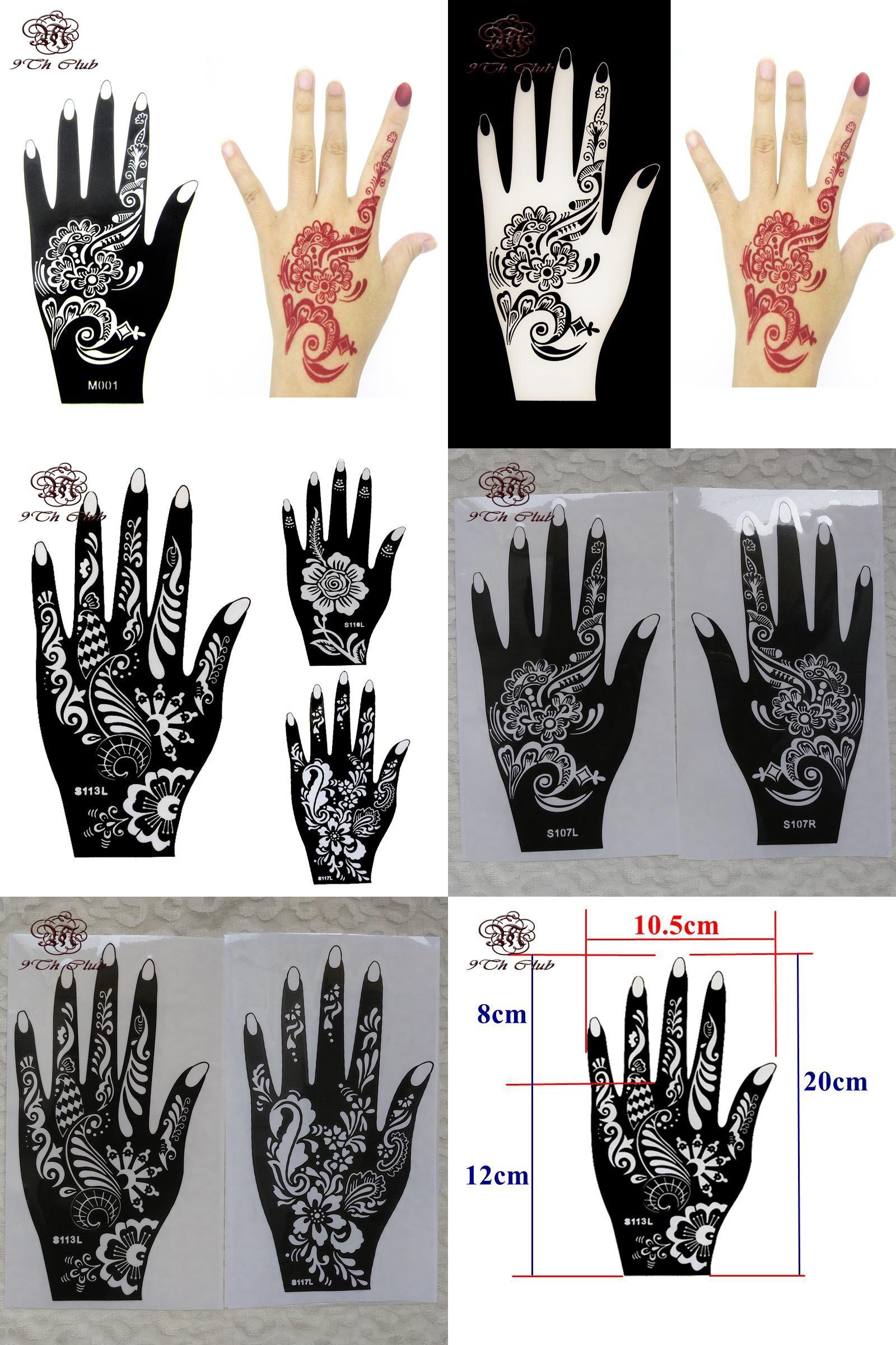 [Visit to Buy] 1pcs Henna Hand Tattoo Stencil,Flower