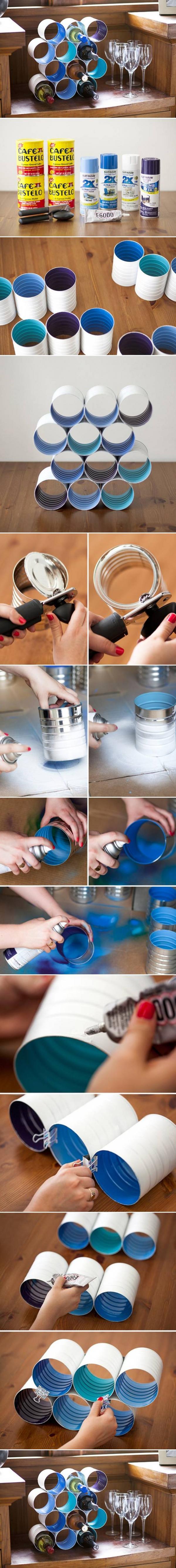 Fabriquer un présentoir à bouteille avec des boites de conserves.   Bouteille de vin bricolage ...