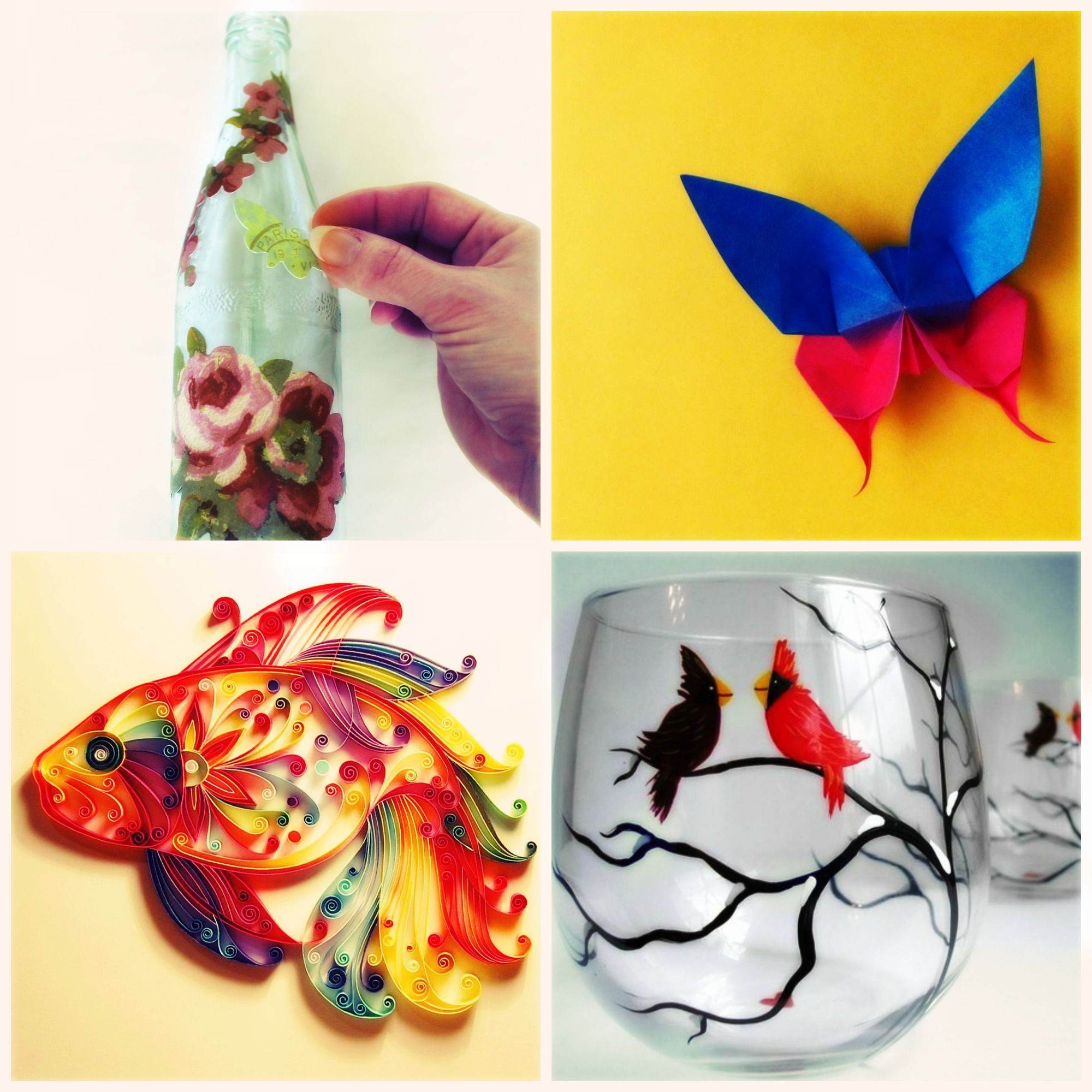 Decoupage, Origami, Paper quilling, Glass painting  | Do-It