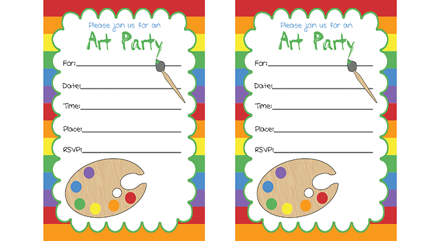 This is an image of Adaptable Free Printable Paint Party Invitations
