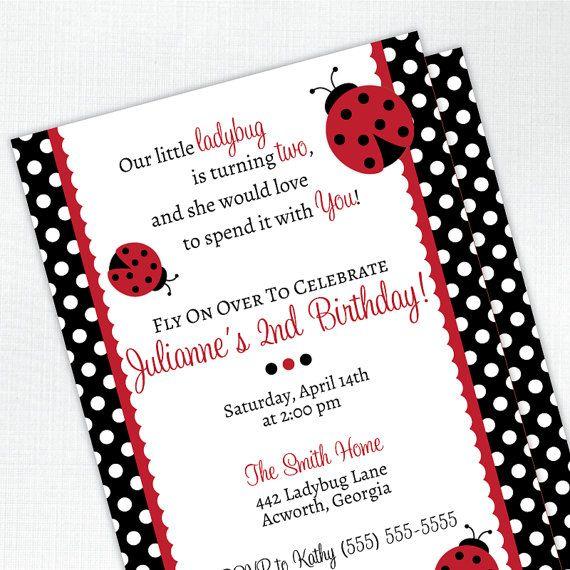 Ladybug Birthday Party Invitation 2nd By Tickledpeachstudio 2400