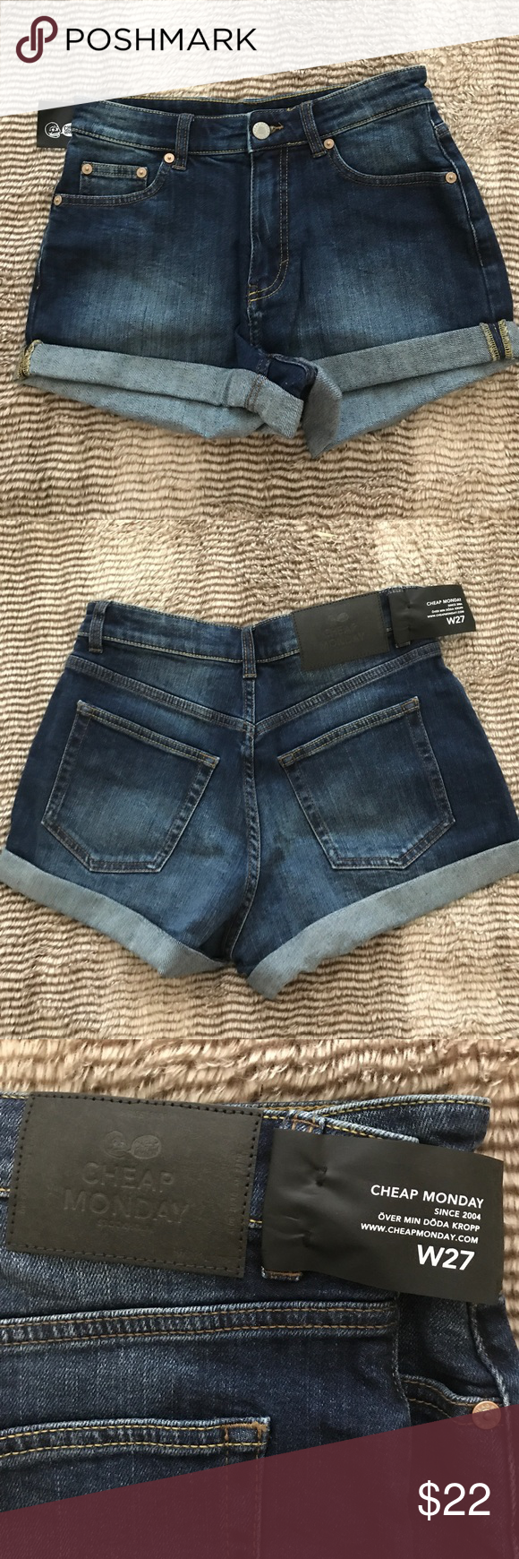 e9a6707b95 Cheap Monday jean shorts Brand new with tags, size 27 Cheap Monday Shorts  Jean Shorts