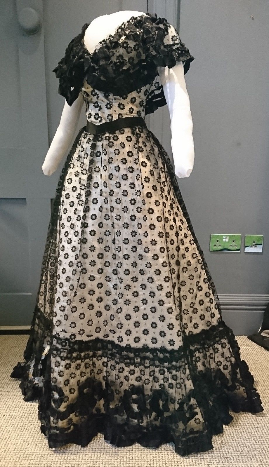 museum quality 1890s silk and net evening dress - victorian
