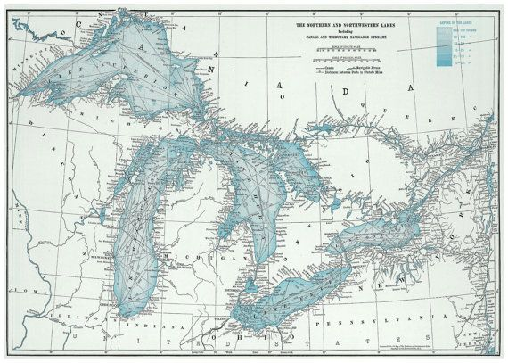 Great Lakes 20x30 1948 Map Poster Print by TheMapShop on Etsy ...
