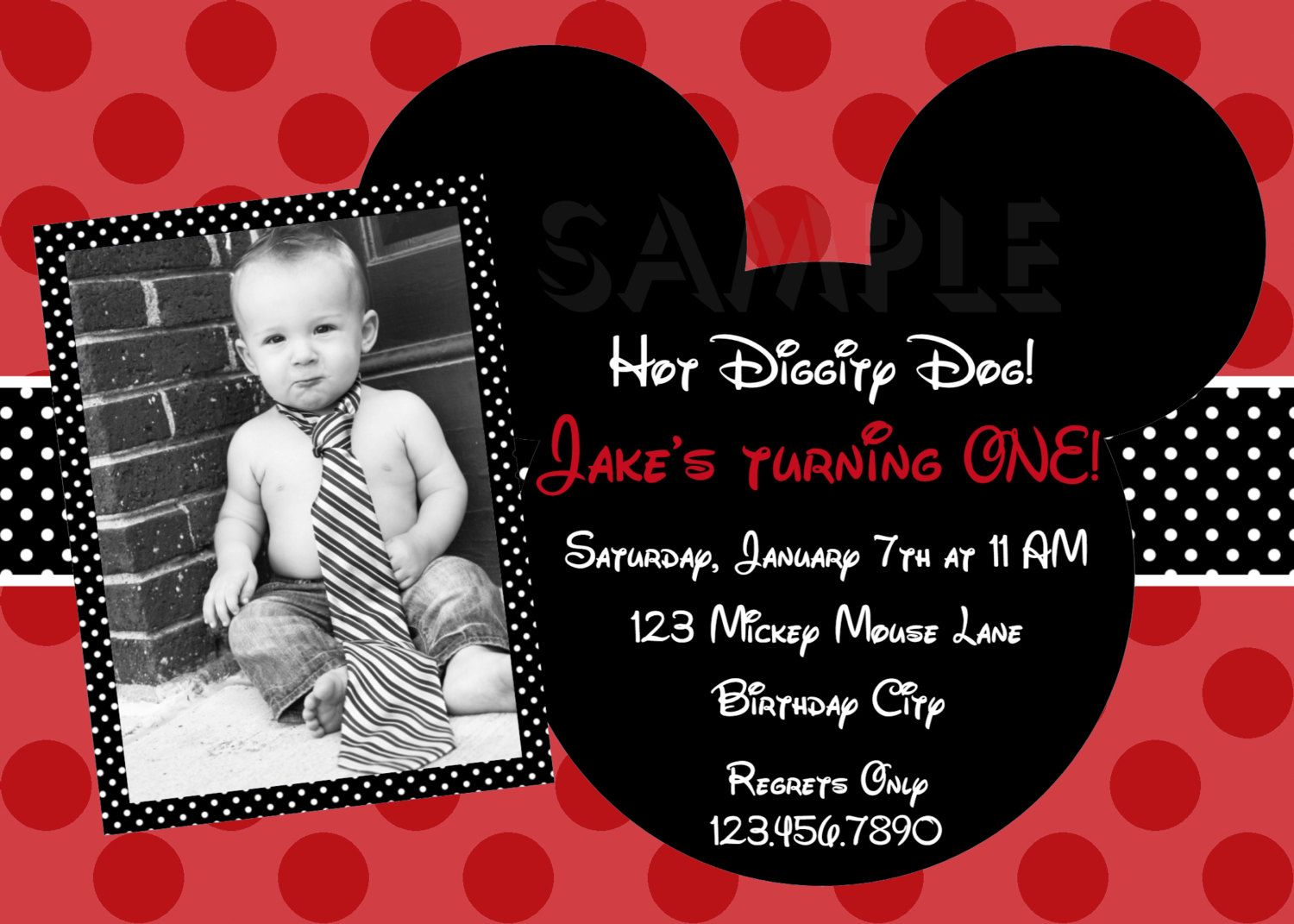 Mouse Red Boys Photo Birthday Invitations | Boy printable, Mickey ...
