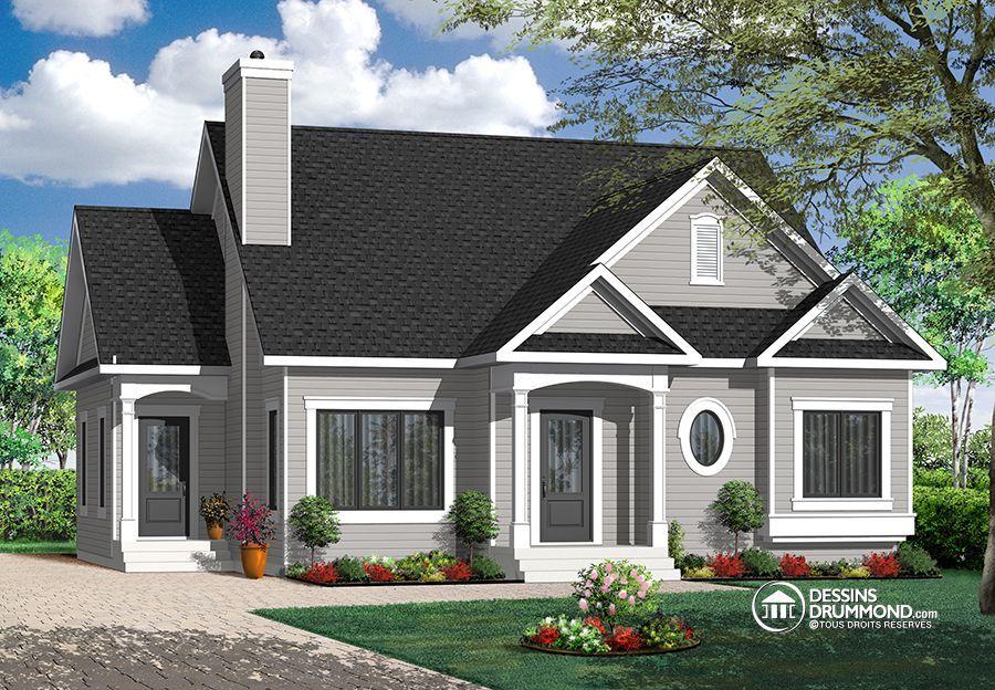 W3116 - Plain-pied champêtre économique, 2 chambres, foyer, belle