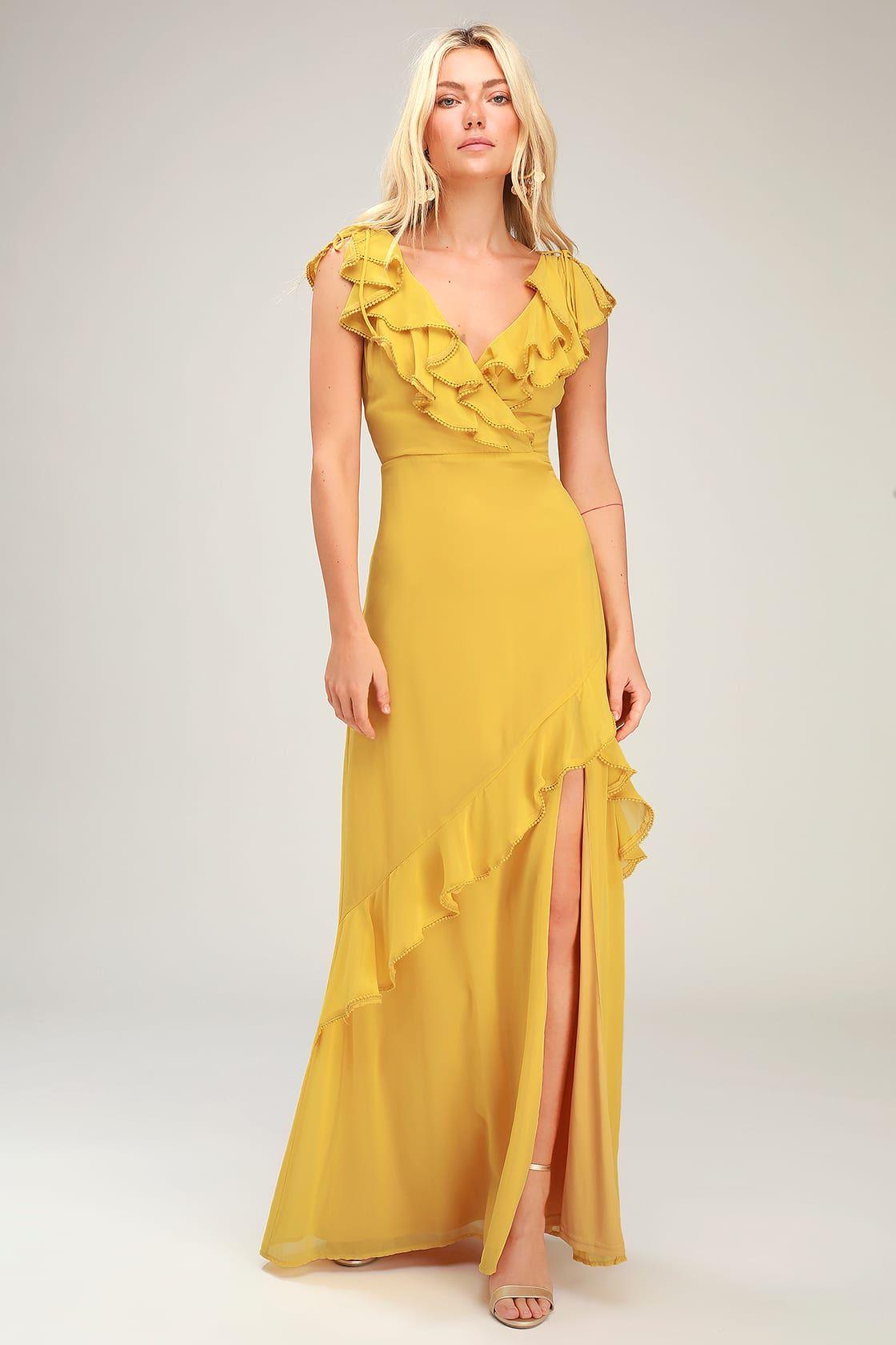 Love From Above Mustard Yellow Ruffled Surplice Maxi Dress Yellow Maxi Dress Cocktail Dress Yellow Womens Yellow Dress [ 1680 x 1120 Pixel ]