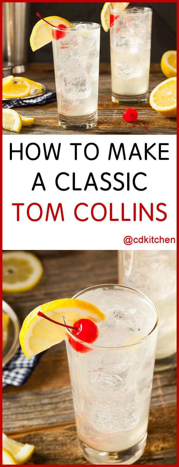 Classic Tom Collins Cocktail - This is a refreshing cocktail that tastes like sparkling lemonade, with a gin kick. The origins of the Tom Collins are a bit muddy. Prior to the drink there was another drink called the John Collins which used Old Tom gin along with lemon juice, sugar, and club soda. It's speculated that the name morphed into Tom Collins from that. | CDKitchen.com #sparklinglemonade