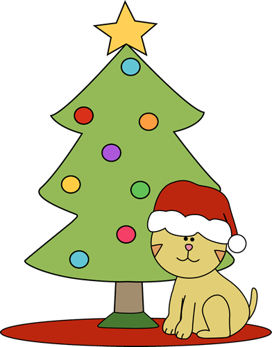 christmas cat clipart cat sitting in front of christmas tree clip rh pinterest com Dog Christmas Graphics Dogs at Christmas