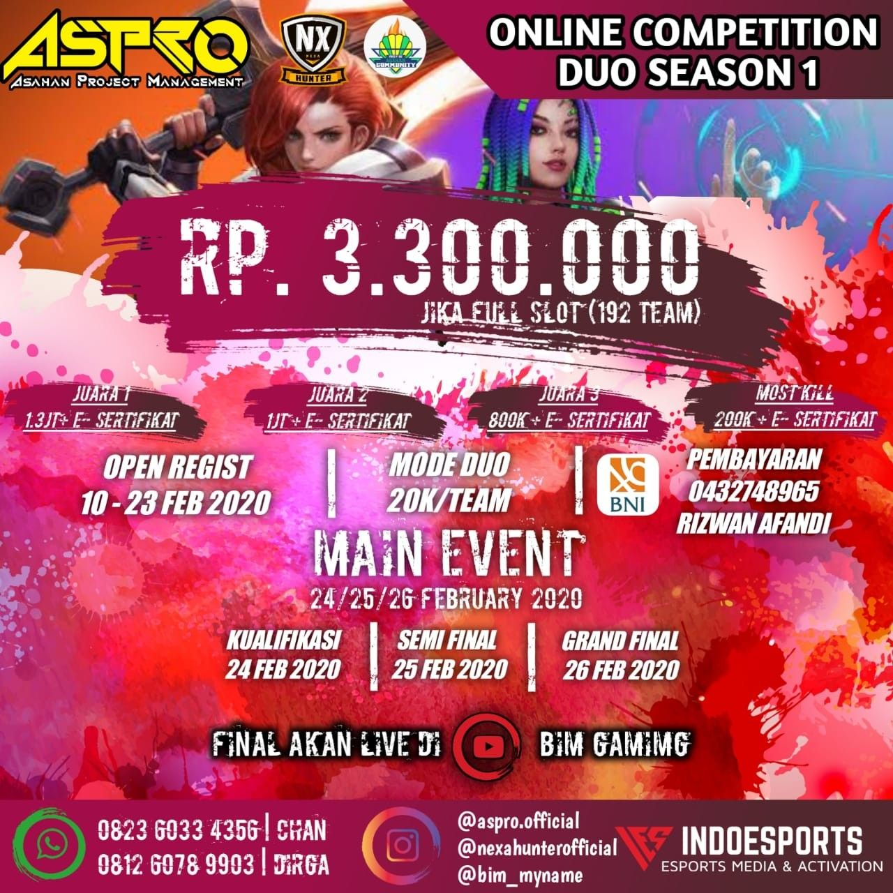 Aspro Online Competition Squad Season 4 Mode Squad Youtube Tanggal