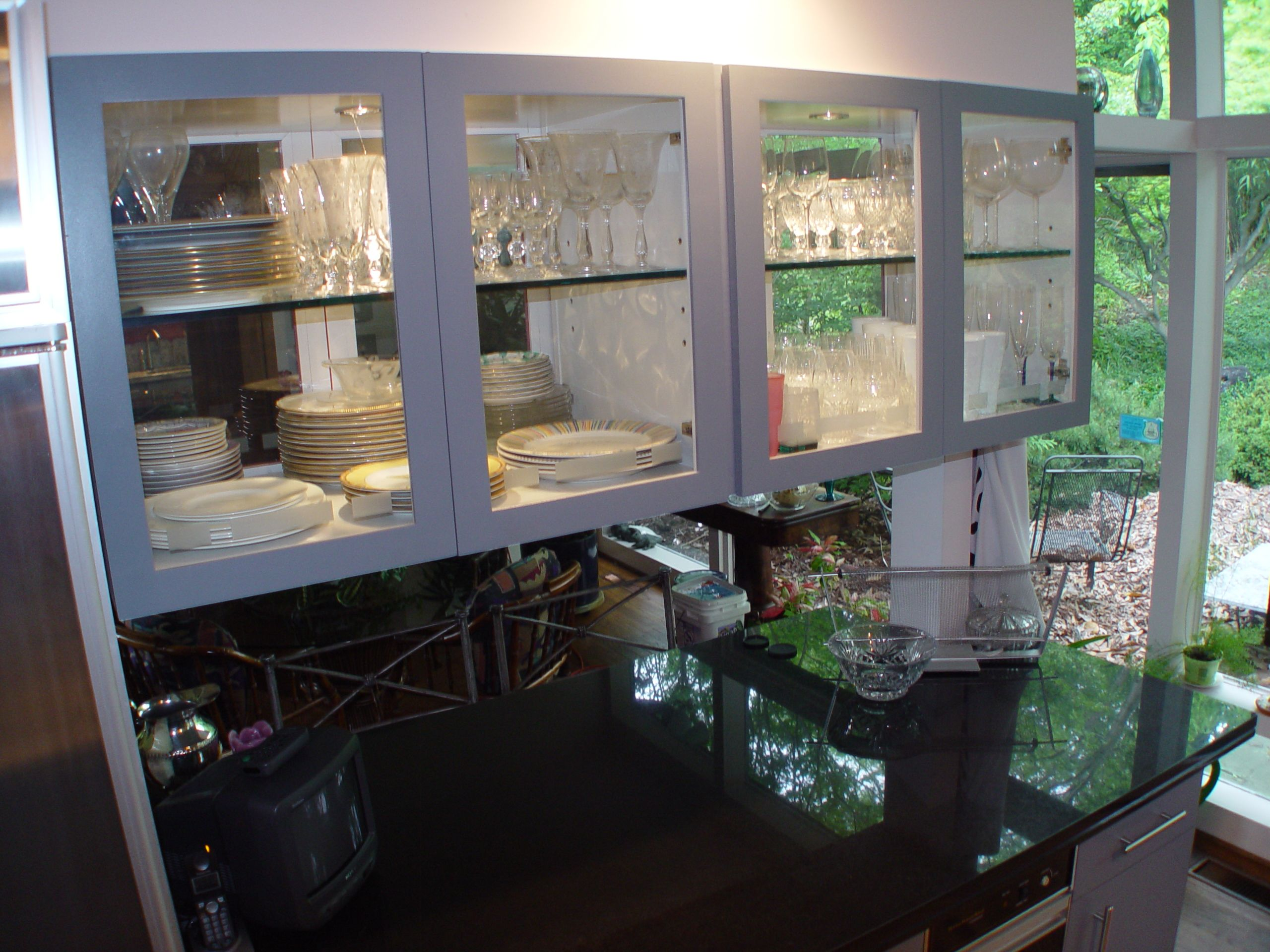 kitchen cabinets with glass doors on both sides google search