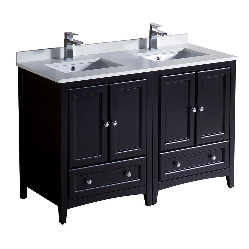 Fresca Oxford 48 In Double Vanity In Espresso With Quartz Stone Vanity Top In White With White Basins Fcb20 2424es Cwh U The Home Depot Double Sink Bathroom Cabinets Double Sink Bathroom Vanity Traditional