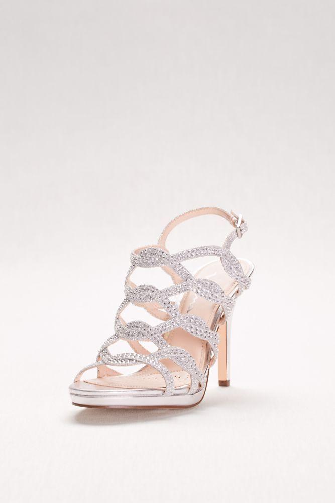 e8892843eb9 Crystal-Embellished Caged Platform Heels - Silver Metallic