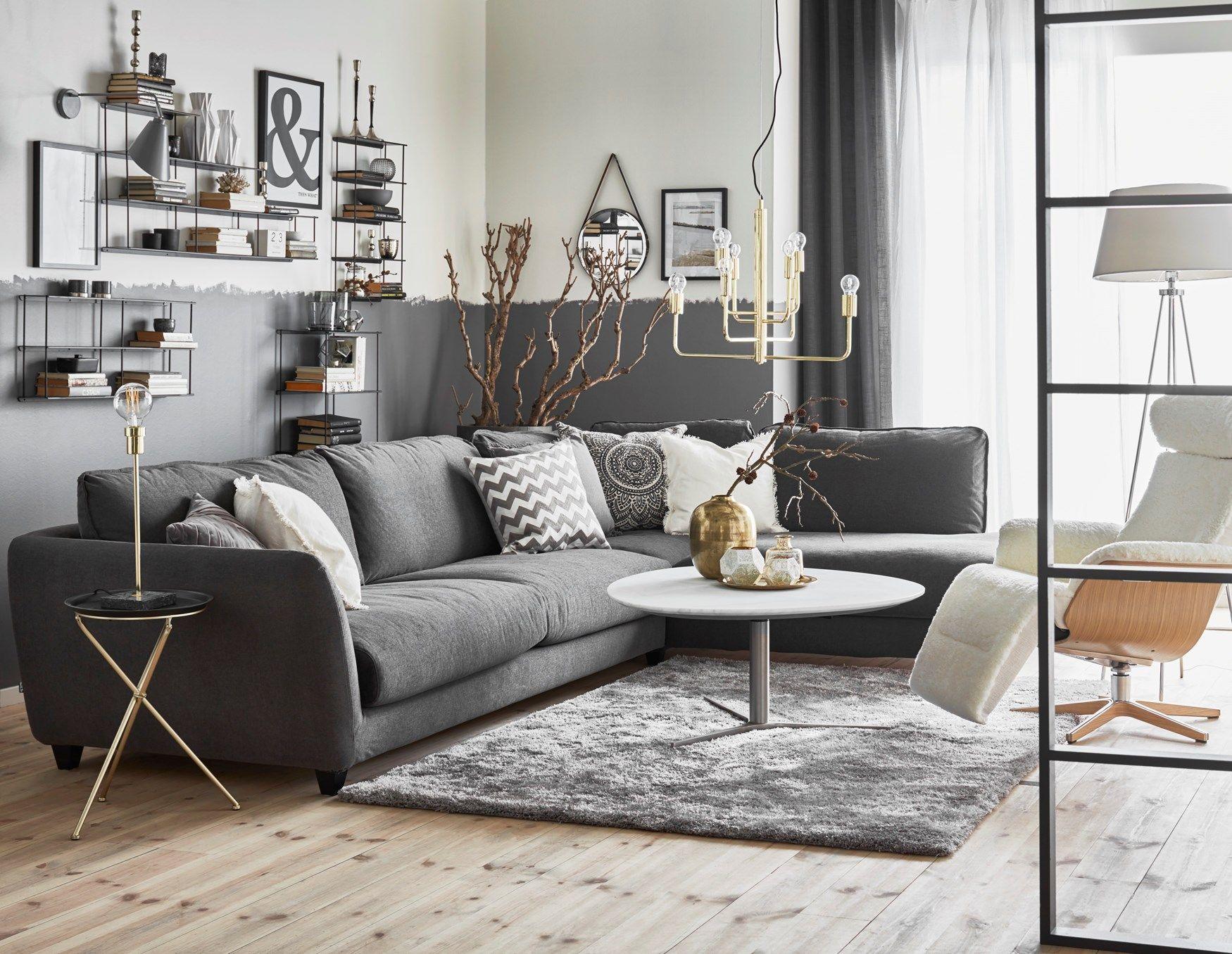 Nikki soffbord och Hoover 3 sits soffa med divan från Mio Vardagsrum
