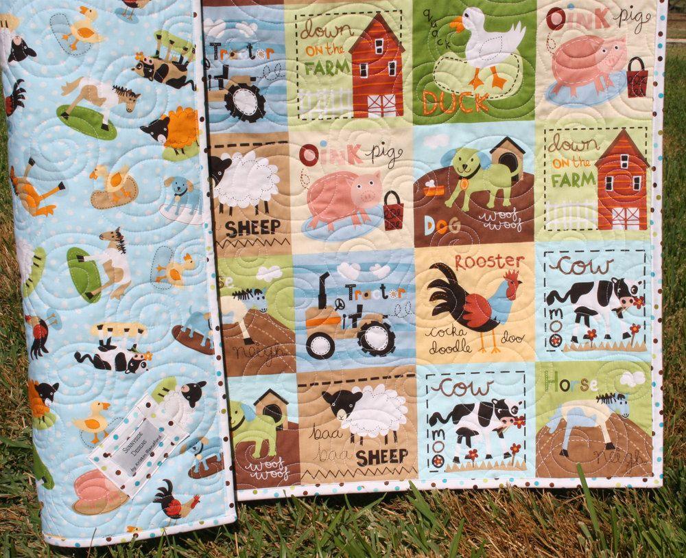 LAST ONE Farm Quilt, Boy or Girl Crib Bedding, Tractor Blanket ...