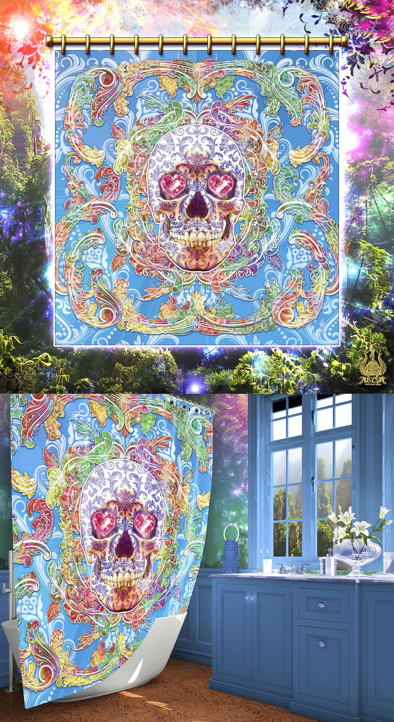 Psychedelic Skull Shower Curtain Abstract Creepy Cute Decor