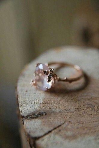 Jewels Heart Pink Setting Quartz Engagement Ring Hipster Wedding