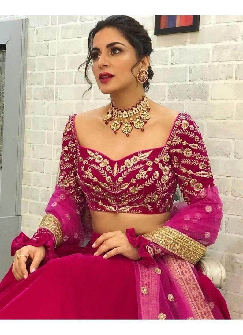 Shraddha Arya Wine Color Bollywood Celebrity Lehenga Choli Etsy In 2020 Velvet Fashion Lehenga Partywear