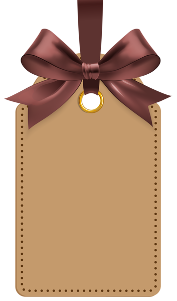 Label with Brown Bow Template PNG Clip Art Image