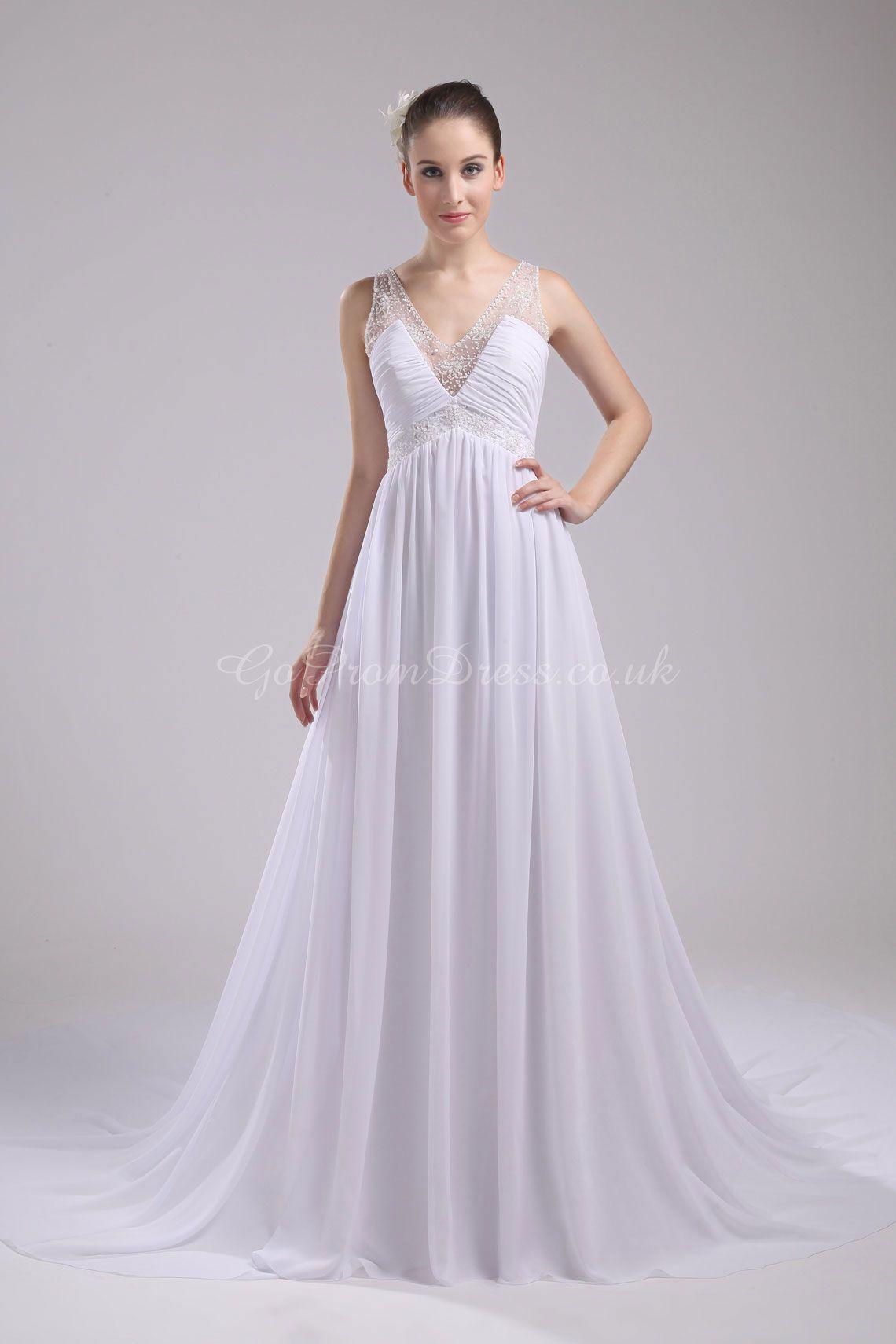 Flowy v back dream wedding pinterest wedding dress white