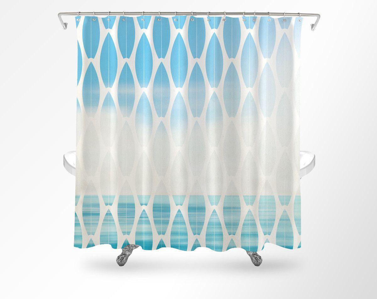 Beachy shower curtains - Surfboard Beach Shower Curtain