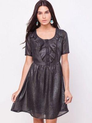 f5c4ae9839a KOOVS Glitter Print Ruffle Front Dress