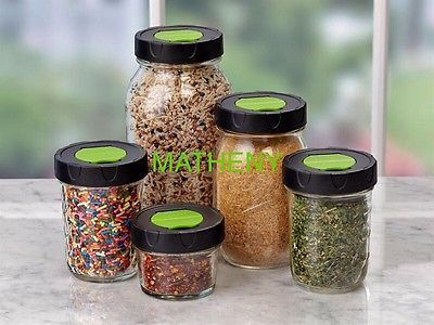 (2) Ball Regular Mouth Plastic Dry Herb~Spice Shaker Lids~Mason Canning Jar Caps
