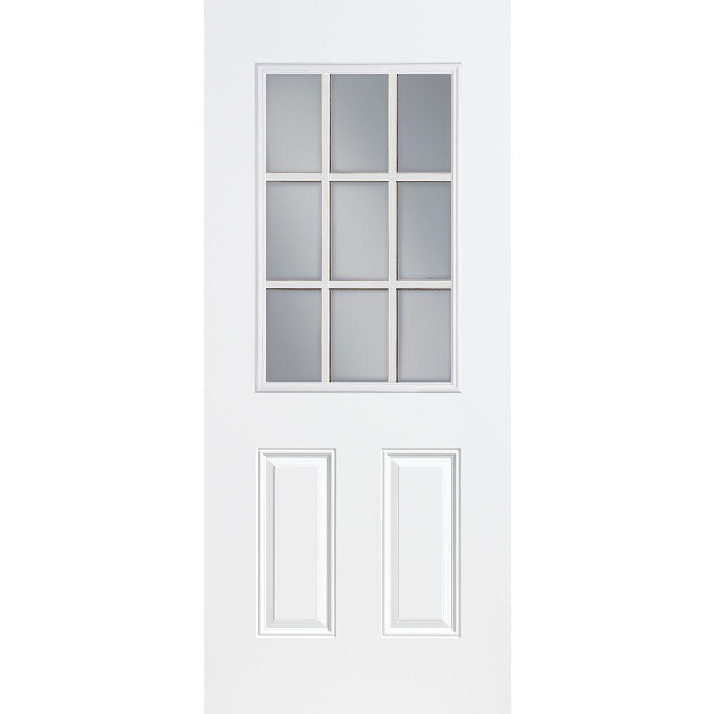 Masonite 32 In X 80 In 9 Lite Internal Grille Right Hand Inswing Primed Smooth Fiberglass Fiberglass Exterior Doors Fiberglass Entry Doors Steel Entry Doors