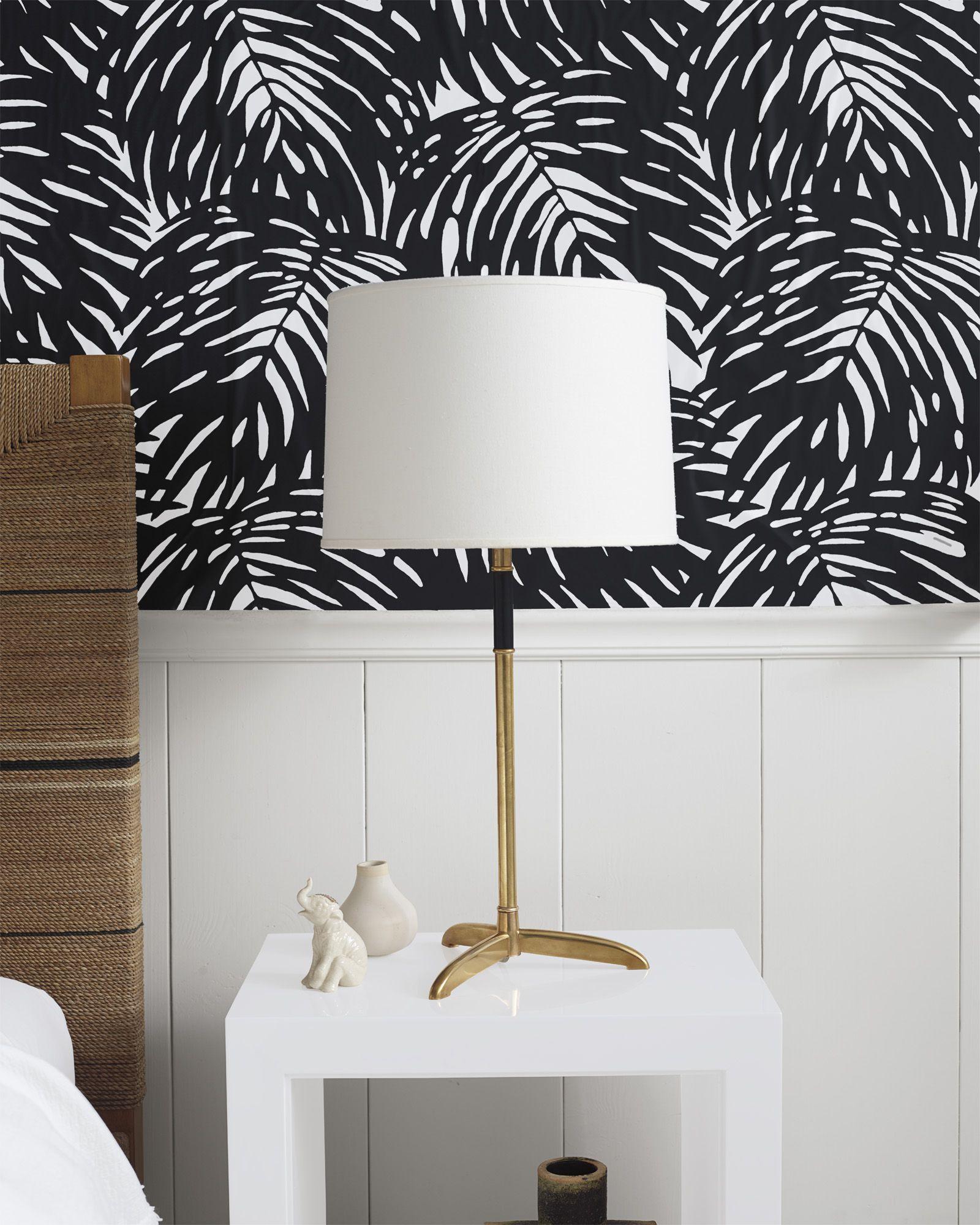Palm Wallpaper White & Green Home Decor & Furniture