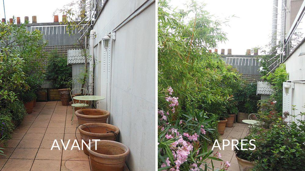 Avant / Après  Sublimer la terrasse par le biais des plantes - M6 - espacement plot beton terrasse