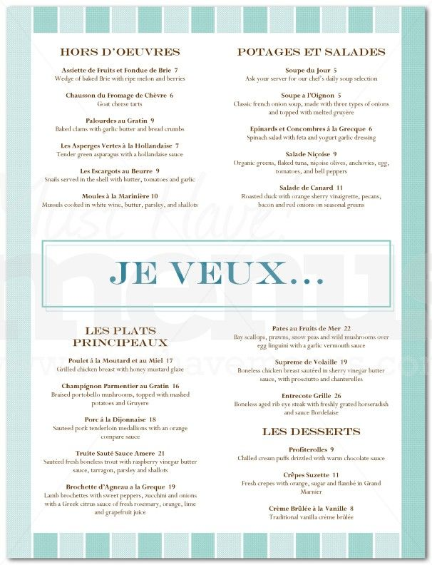 French Food Restaurant Menu  Page   Brasserie