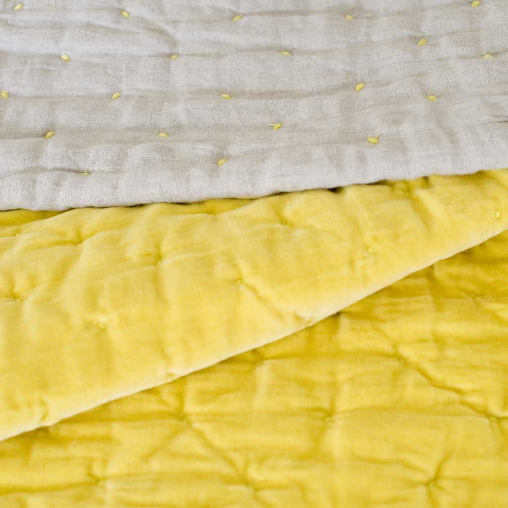 Chartreuse Hand Stitched Cotton Velvet and Linen Quilted Bed Throw