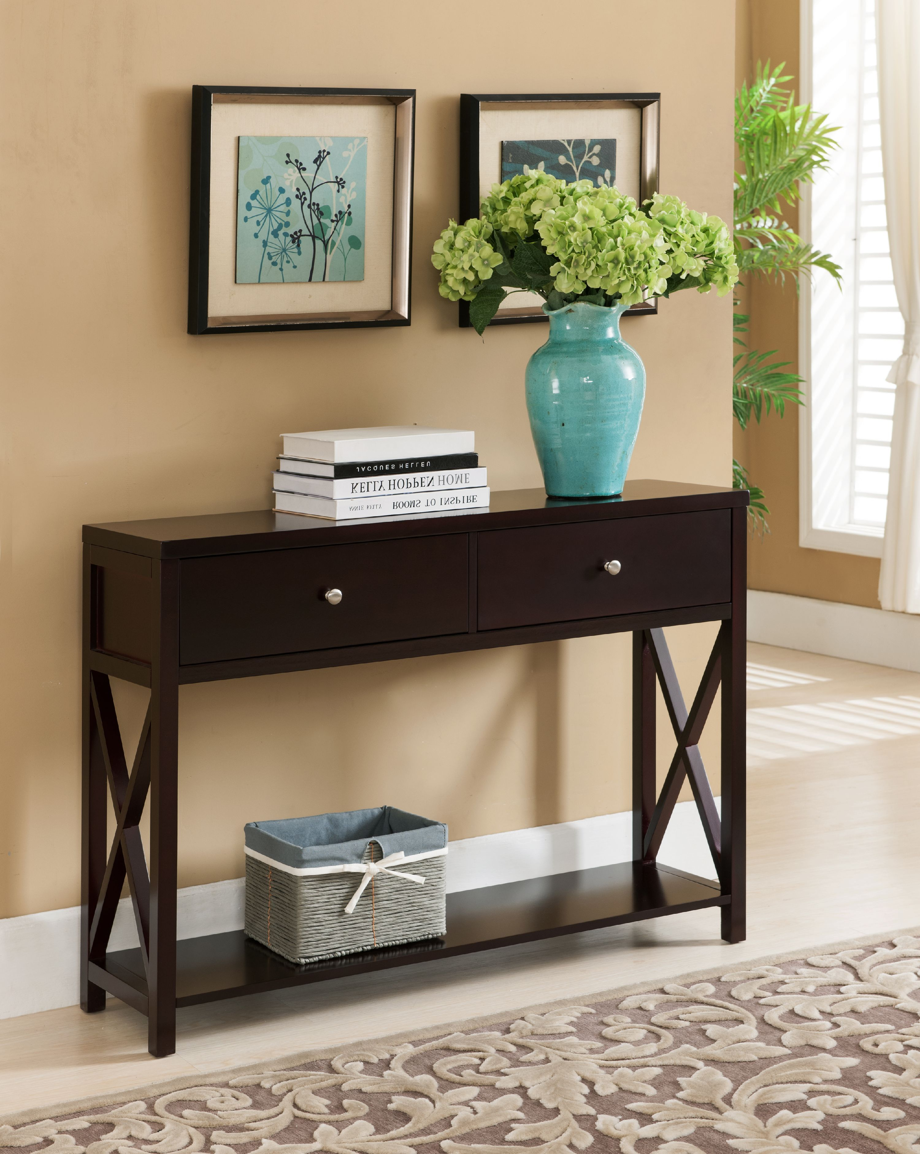 Ethan Dark Cherry Wood Contemporary Occasional Entryway Console Sofa Table With Storage Drawers Shelf Walmart Com In 2020 Sofa Table With Storage Entryway Console Table Entry Table Decor