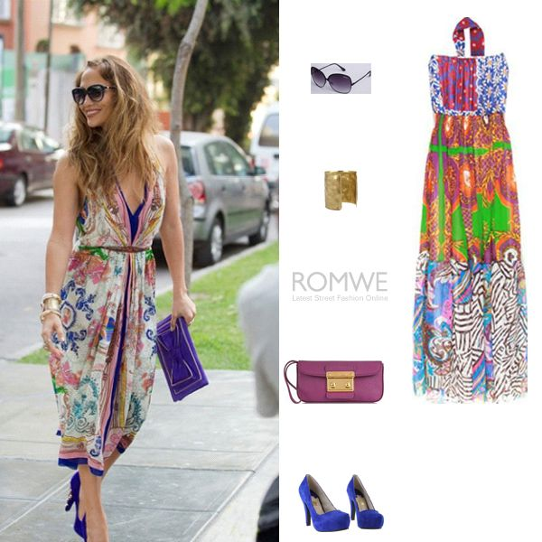Jennifer Lopez/Floral print bandeau neck shift dress