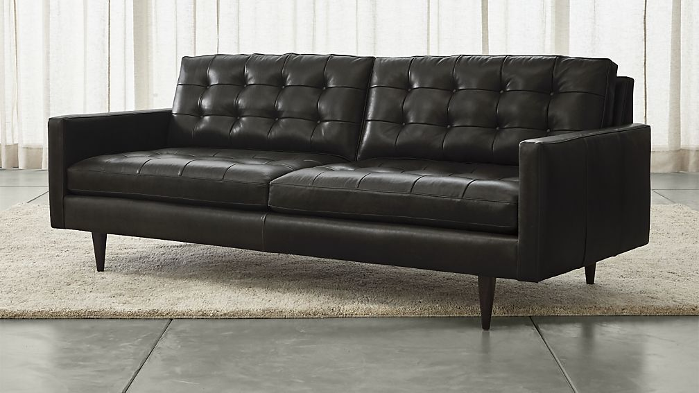 petrie leather midcentury sofa living rooms tufted leather sofa rh pinterest com