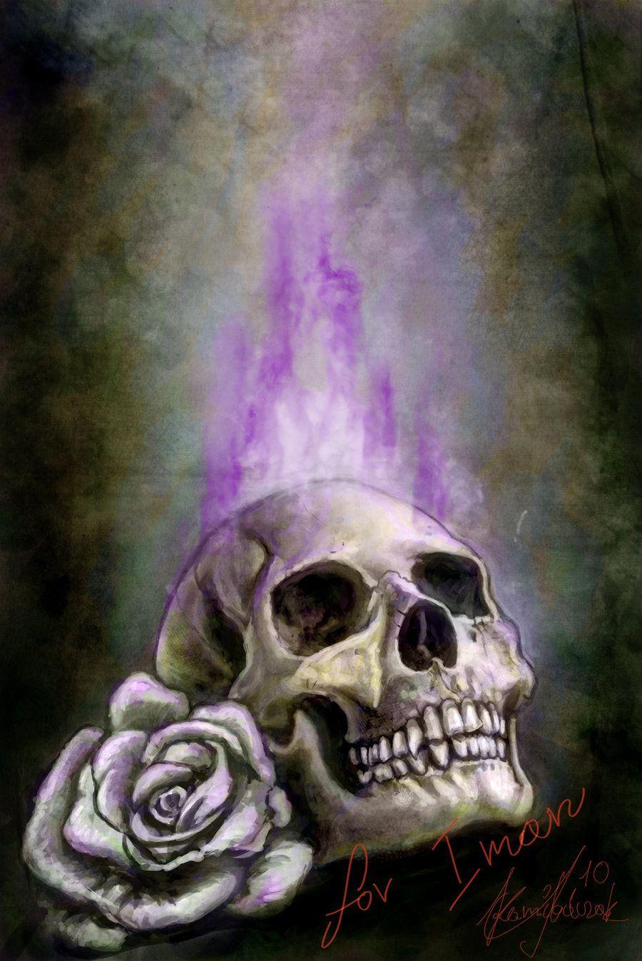 Purple Flames Skull