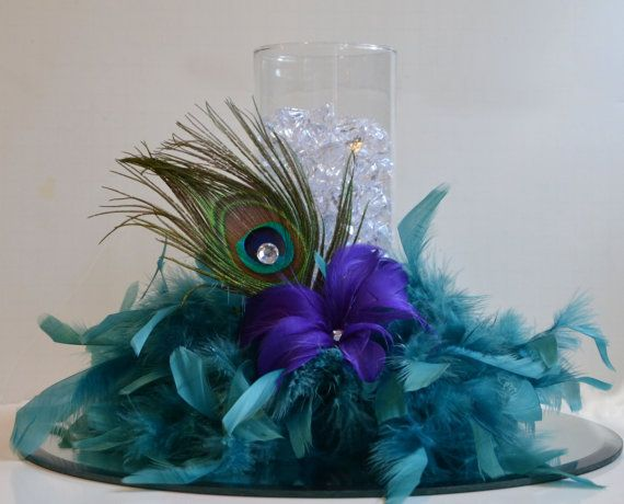 10 Peacock Feather Wedding Reception Centerpieces Peacock