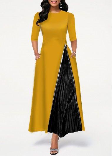 Photo of Color Block Chevron Print Button Detail Dress   modlily.com – USD $35.16