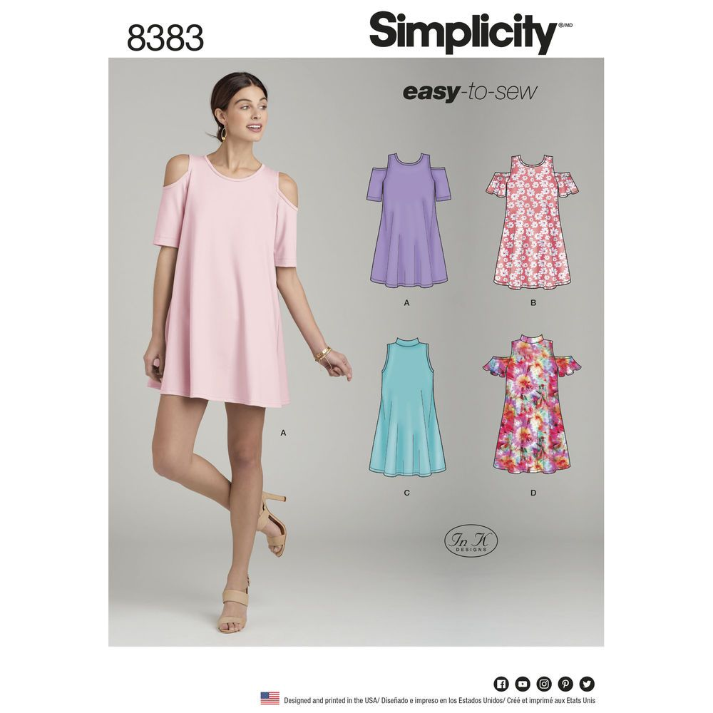 Sew a Misses\' knit trapeze dress with a variety of cold shoulder ...