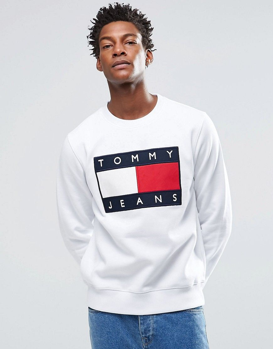 591c2e513cb5 How cool will this jumper looked cropped  Hilfiger Denim Sweatshirt with  Tommy Flag Logo