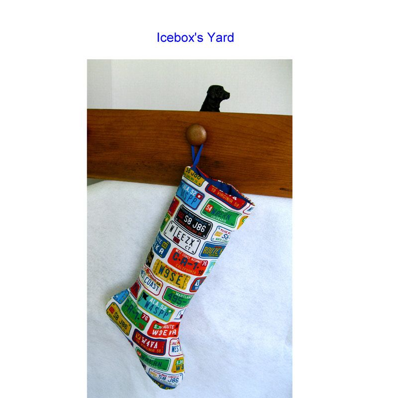 License Plate Stockings Handmade Christmas Stocking With Bright Colored Plates Lined Xmas
