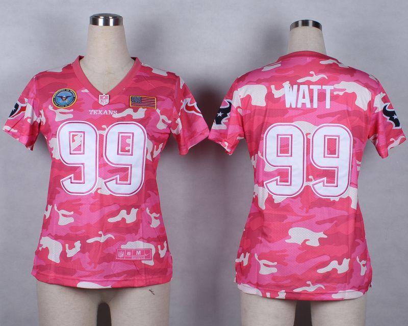 Womens Houston Texans 99 J. J. Watt 2014 Pink Camo flag version Jerseys f98efc7f6