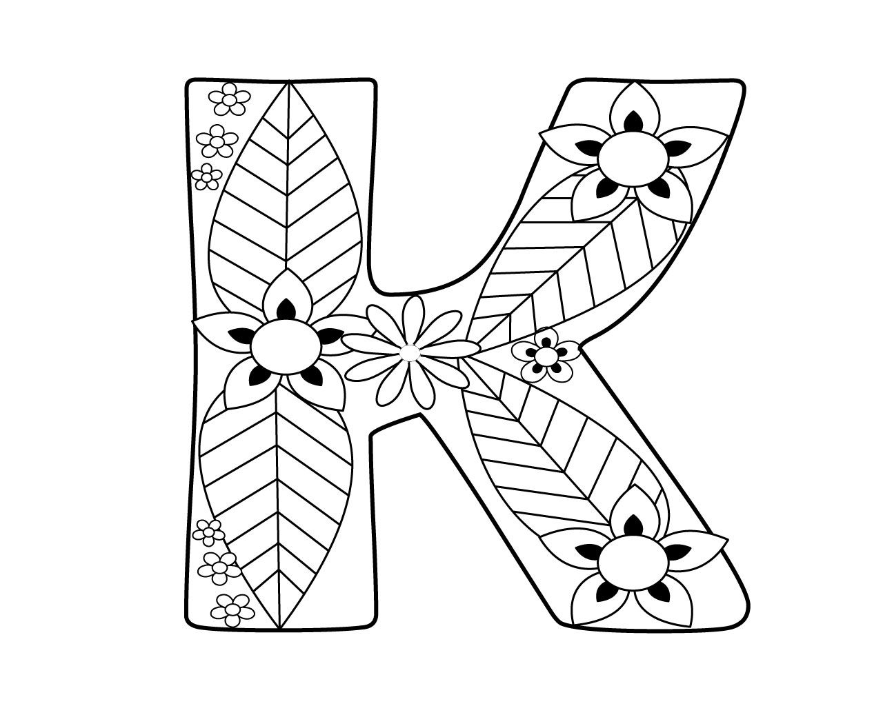 Letter K Coloring Pages for Adults Free printable