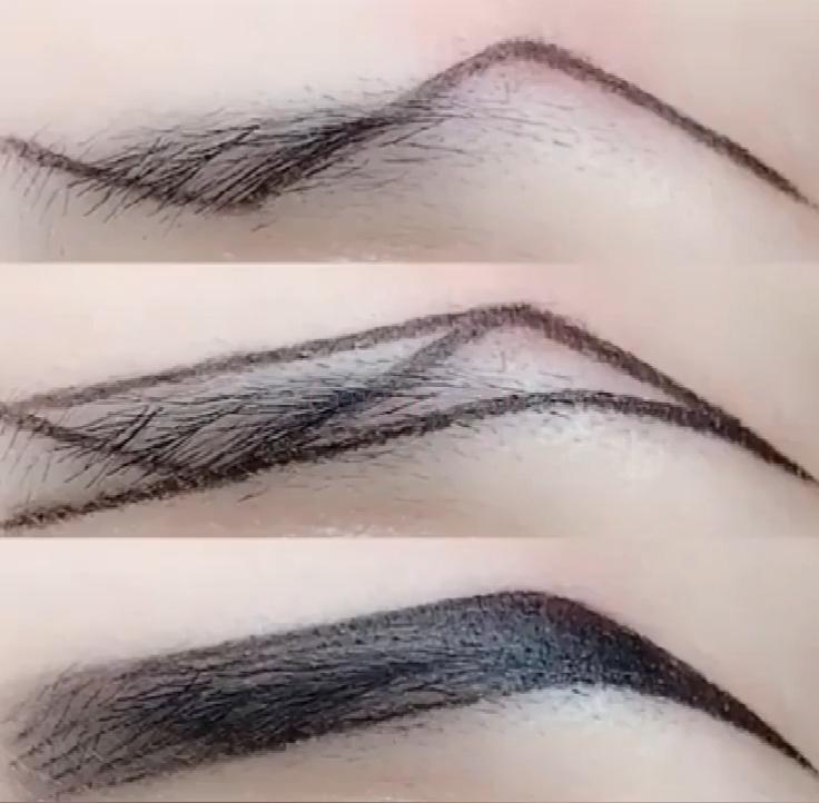 Photo of Z-type eyebrow makeup technique